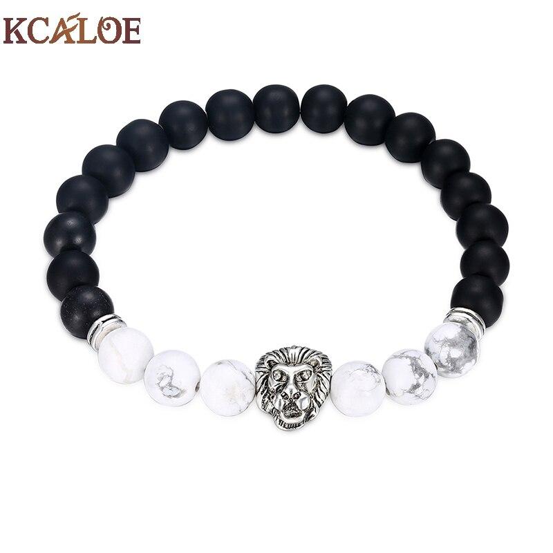 KCALOE Brand Unisex Natural Stone Bracelets & Bangles Silver Color ...