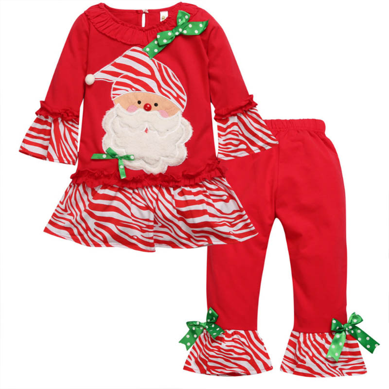 Girl Christmas Costume Autumn Children Long-sleeved Dress + Legging Winter New Years Outfit Thanksgiving Day Suit