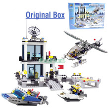 2016 NEW In Original Box Building Blocks Compatible with lego / Police Station truck Car & Motorcycle Boat / Toy brinquedos