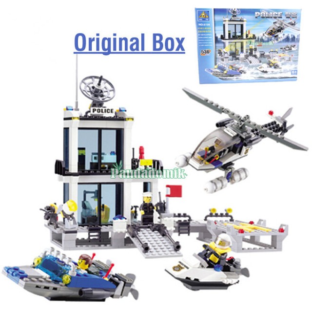 2017 NEW In Original Box Building Blocks Compatible with lego / Police Station truck Car & Motorcycle Boat / Toy brinquedos