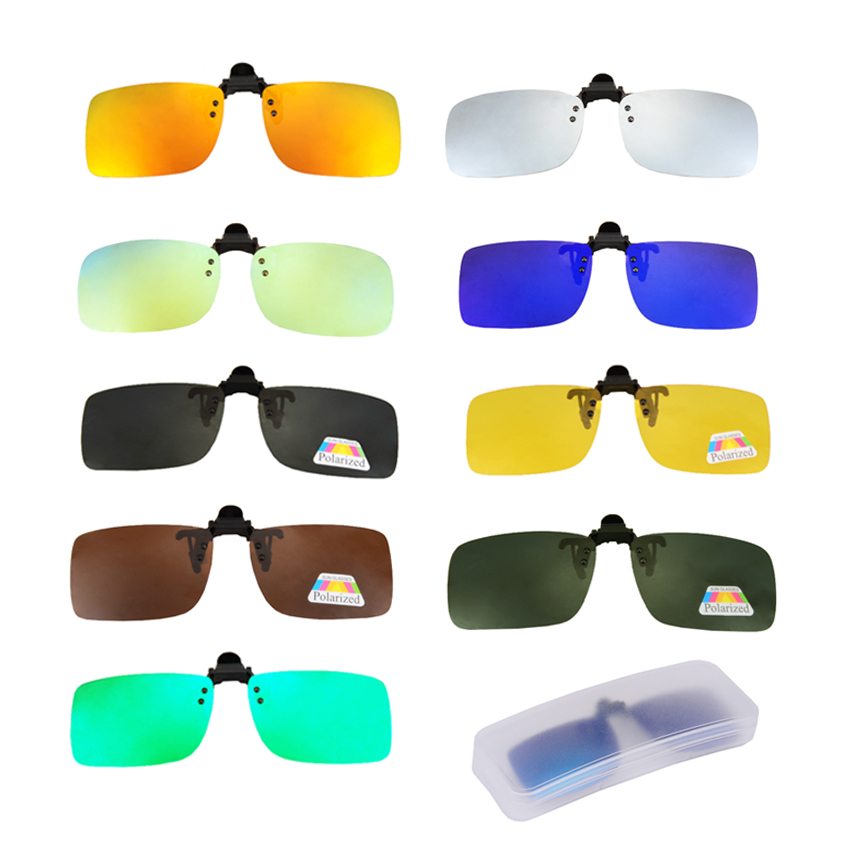 Polarized Clip On Fishing Sunglasses Myopia Fishing Eyewear Clips Driving Sports Glasses Night Vision Goggles Clips With Box