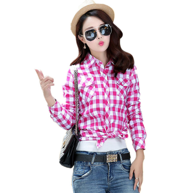 7434ec55 Spring Autumn Women Flannel Plaid Shirts Long Sleeve Red Plaid Shirt Ladies  Causal Cotton Checked Blouses