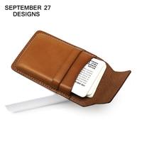 Business Card Case 100 Top Genuine Cowhide Leather Vintage Men Credit Card Holder Women Min Wallet