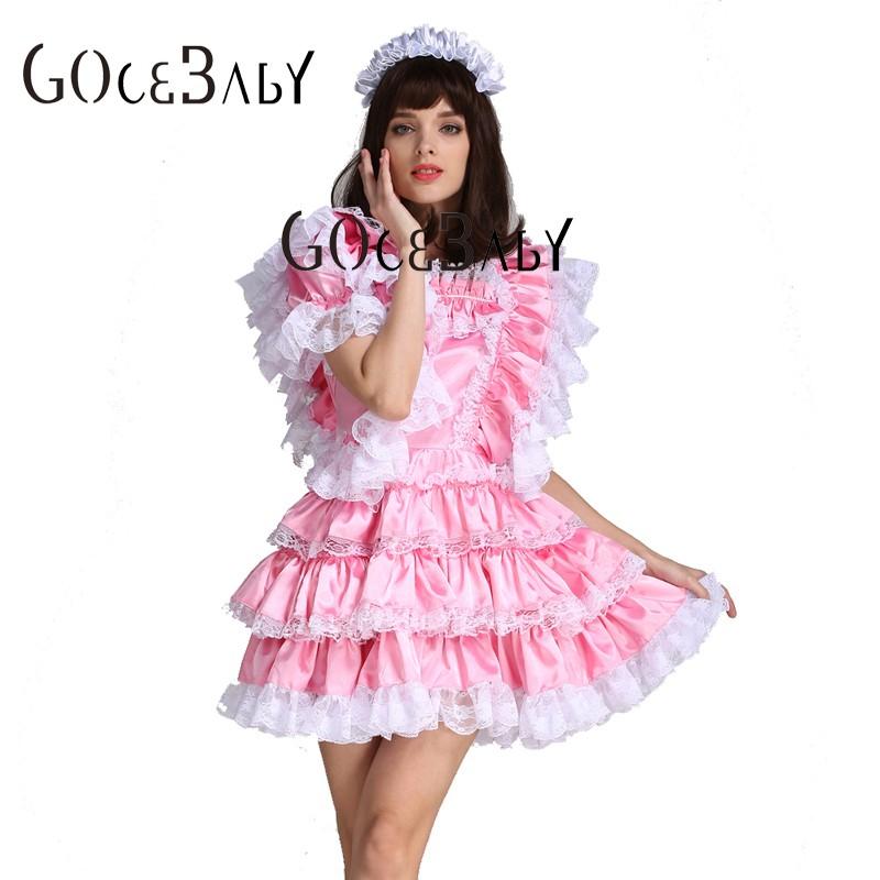 660adf68e8 Sissy dziewczyna pokojówka satynowe różowe zamykany sukienka kostium  jednolite Crossdressing