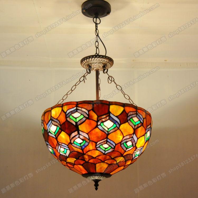 US $170.6 |Stile europeo pollici anti lampadario con coda di pavone Tiffany  camera da letto lampade soggiorno bar, cafe classico colore di ...