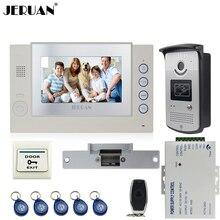 "JERUAN Home Wired 7"" TFT video door phone Record intercom system kit 700TVL RFID Access IR Night Vision Camera 8GB SD Card"