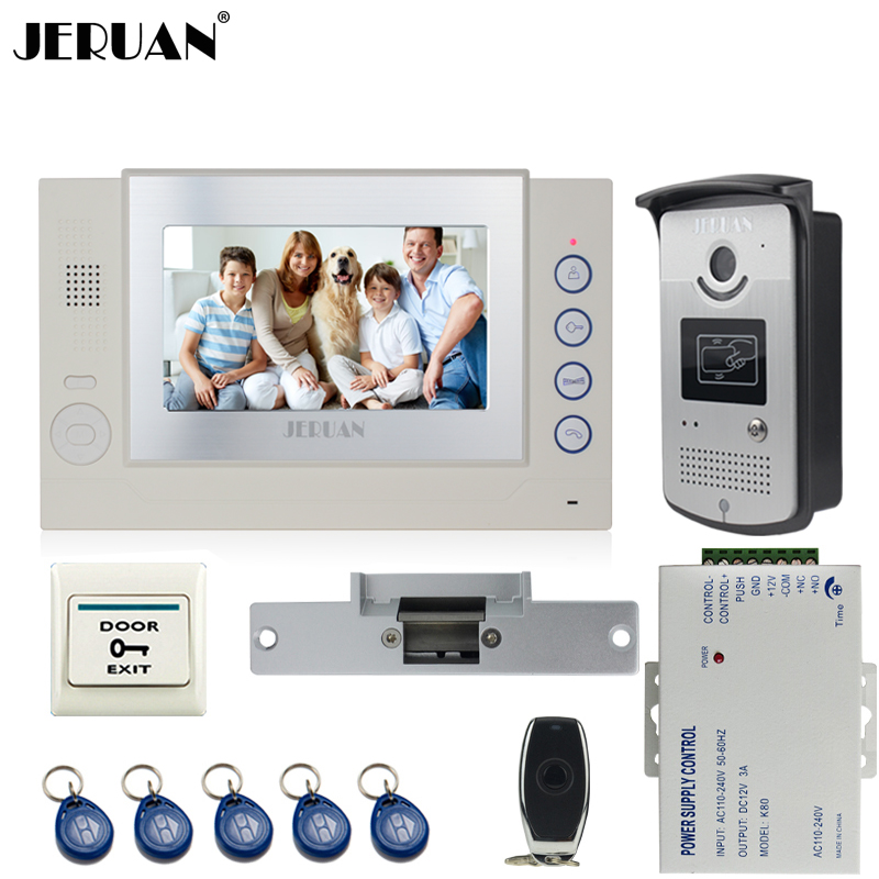 JERUAN Home Wired 7`` TFT video door phone Record intercom system kit 700TVL RFID Access IR Night Vision Camera 8GB SD Card