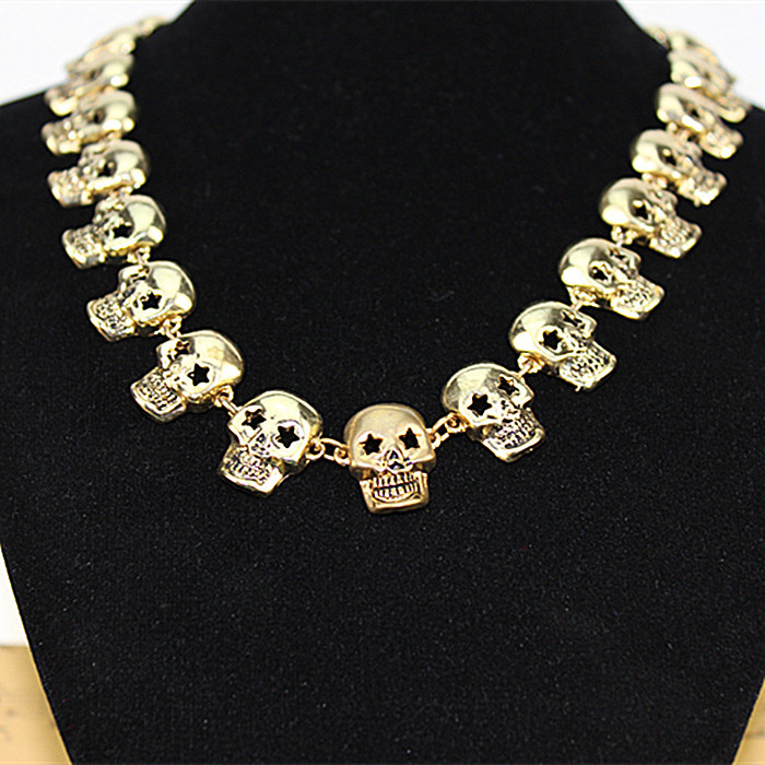 Qingdao made popular romantic girl tassel skulls gift wholesale gold-plated pendant necklace! Free shipping!
