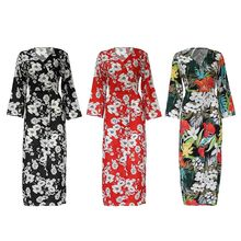 Womens Plus Size Long Sleeve High Split Chiffon Maxi Dress Cross Wrap V-Neck Button Down Tropical Floral Printed Empire Waist Be floral plus size maxi empire waist dress