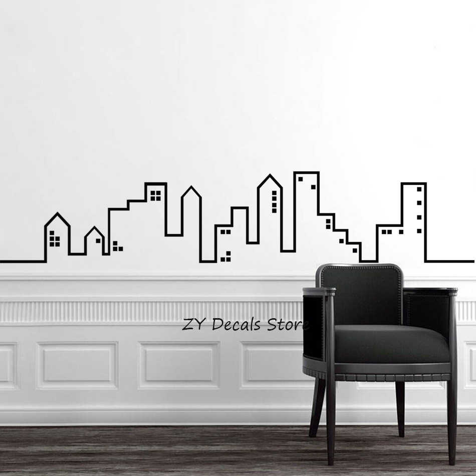 City Skyline Wall Sticker Home Decor Bedroom Modern Wall Decal for Nursery  Playroom Decoration Removable Art Sticker Kids S9