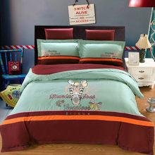 Смазливая мультфильм принцесса свадебное постельное белье комплекты королевский размер 4шт классический вышивка хлопок розовый одеяло покрытие постельное белье домашний текстиль