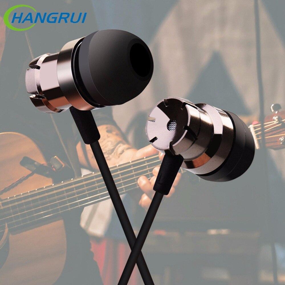 Auriculares Hangrui de 3,5mm con micrófono manos libres auriculares bajos estéreo aislantes de ruido para xiaomi iphone samsung auriculares