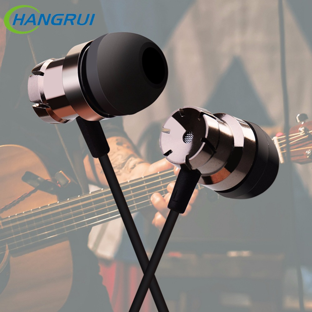 Hangrui 3.5mm in earphones with mic handfree earpiece stereo bass earbuds Noise Isolating for xiaomi iphone samsung auriculares
