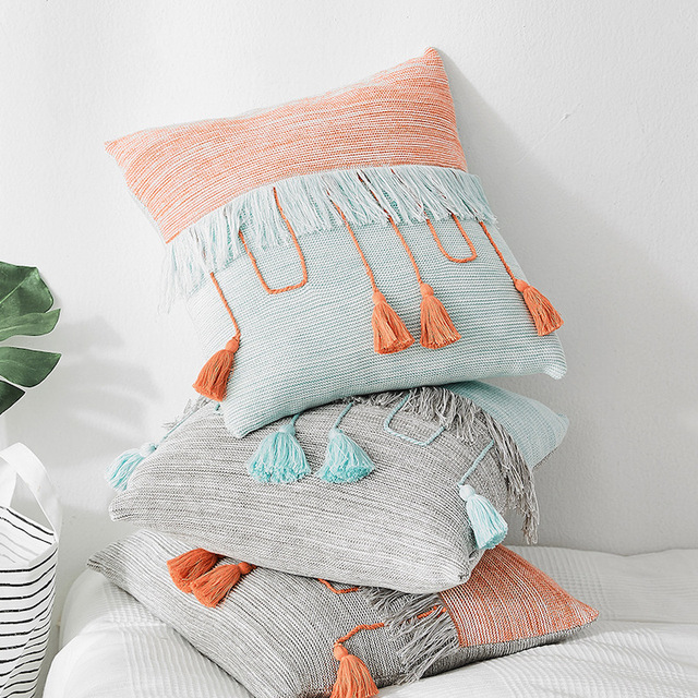 Knitted Pillow Cover with Colored Tassels