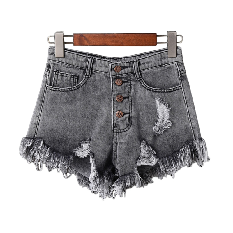 Womens Sexy High Waist Tassel Ripped Jeans Summer Large Size Denim Shorts #4