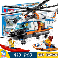 448pcs New City Coast Guard Heavy Duty Rescue Helicopter 02068 Figure Building Blocks Children Toys Compatible With LegoING