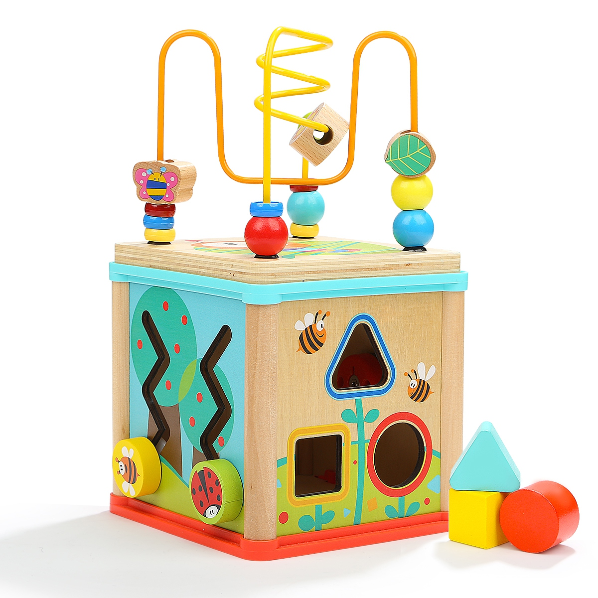 1 Pcs Wooden Toys Baby Learning Early Education Wooden Maze Multi-function Box Round Bead Toys For Kids Children Gifts