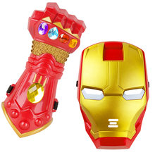 The Avengers Iron Man Thanos mask mask for Masquerade Party toy and Infinite gloves toy(China)