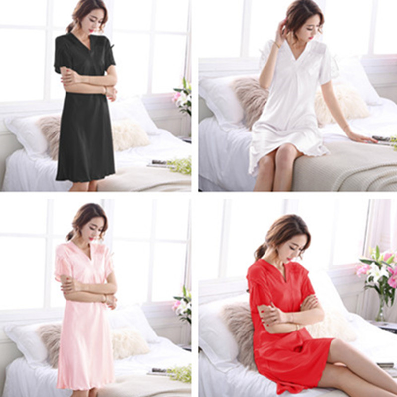 2019 new sexy lady sleepshirt nightgown lace sleepwear set v neck female lingerie dress