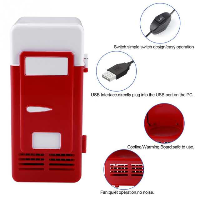 Mini USB Refrigerator with LED Light Fridge Beverage Drink Cans Cooler and  Warmer For Home Office Car