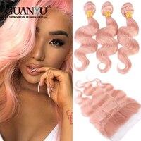 Guanyuhair розовый объемная волна 3 Связки с 13x4 кружева Фронтальная застежка предварительно сорвал перуанский Волосы remy ткань розового цвета на