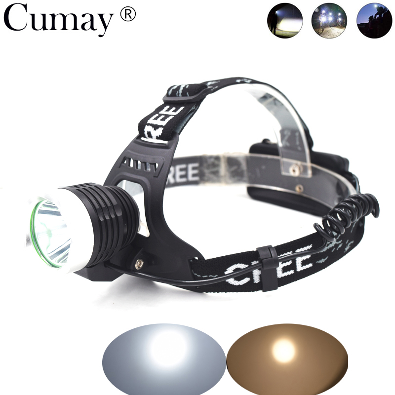 2000LM LED Headlamp Torch 3-Mode Flashlight 18650 Rechargeable Headlight Hunting Fishing Light White Warm lighting white purple yellow light led flashlight stainless steel torch 18650 rechargeable uv torch olight jade identification page 3