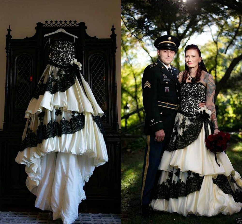 Gothic Black Wedding Dresses Plus Size Ball Gowns Puffy: Custom Made White And Black Gothic Ball Gown Wedding Dress