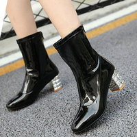 Women Sexy Crystal Thick High Heel Ankle Boots Fashion Patent Leather Sqaure Toe Zipper Autumn Winter Shoes 2019 Black White