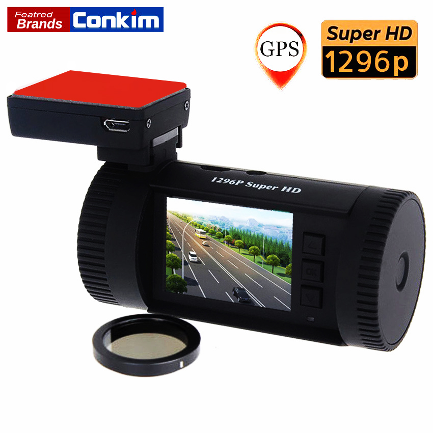 Conkim Car DVR Mini 0826 Ambarella A7 Super HD 1296P 1080P HDR Auto Dash Camera Car GPS Registrar ADAS w/ CPL As Well As 0806 conkim mini 0807 ambarella a7 dash camera 1080p full hd video recorder registrar car dvr gps parking guard record dual tf card