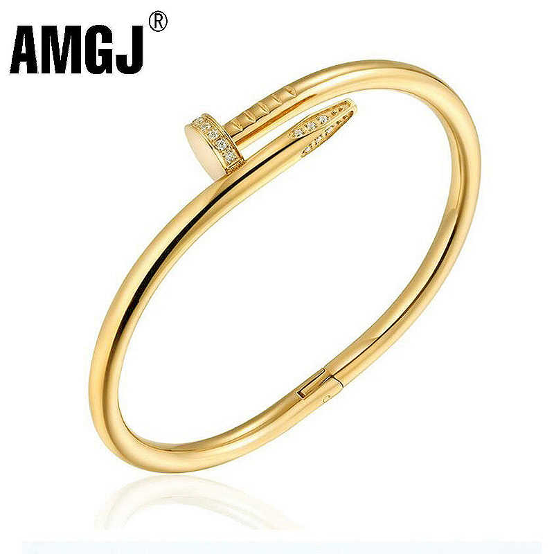 AMGJ 100% Stainlesss Steel Nail Bracelets Bangles for Women Wedding Engagement Zircon Charm Bangle Couple Jewelry Gifts