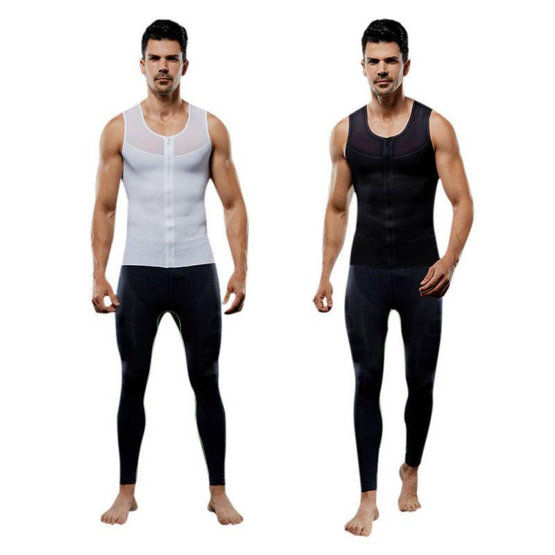 men\'s stretch mesh Europe, United States zipper abdomen body sculpting slimming clothes