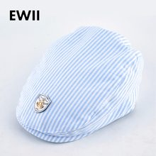 2017 Spring and autumn kids beret hats for boy cotton newsboy cap boina  girl leisure striped hat bone child flat caps feminino 226622707b0d