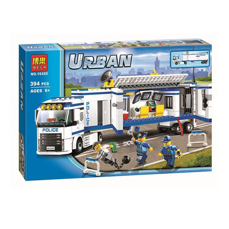 394Pcs Bela 10420 Urban Fluidity Police Station Building Blocks Assembled Bricks Toys For Children Compatible With Legoe 60044 compatible lepin city block police dog unit 60045 building bricks bela 10419 policeman toys for children 011