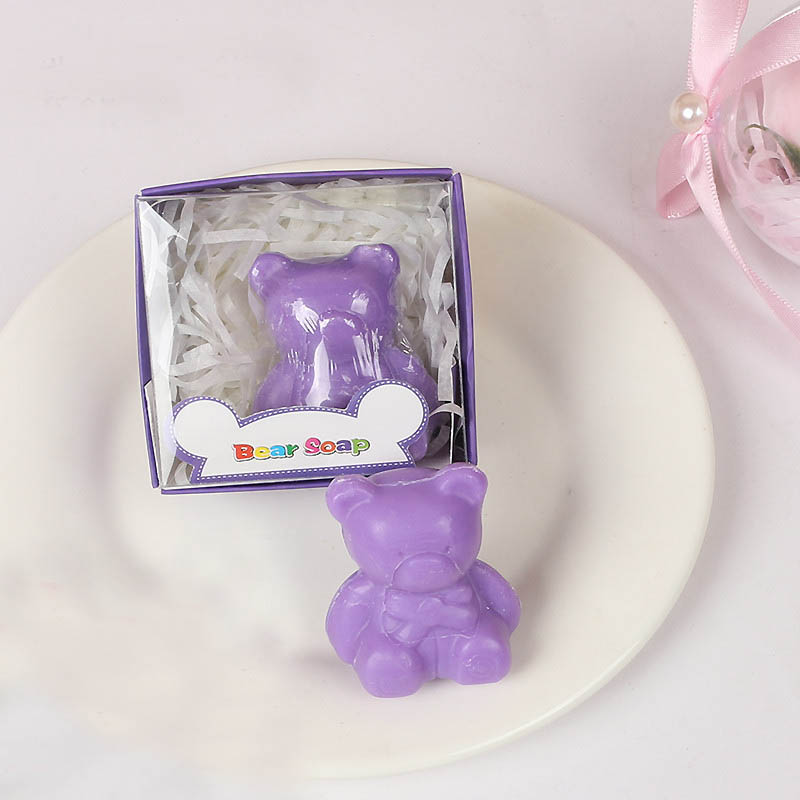 20 шт./лот мини-мыло ручной работы с ароматом для сувенир для свадебной вечеринки и детского душа подарок Свадебные сувениры Мыло для купания - Цвет: purple bear