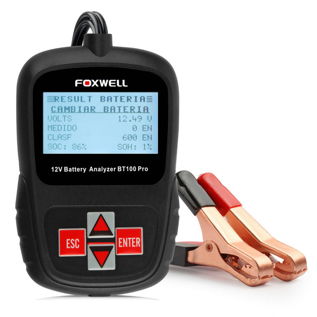 FOXWELL BT100 12V Car Battery Tester for Flooded, AGM, GEL Automotive Battery Analyzer Russian Italian Turkish Free Shipping