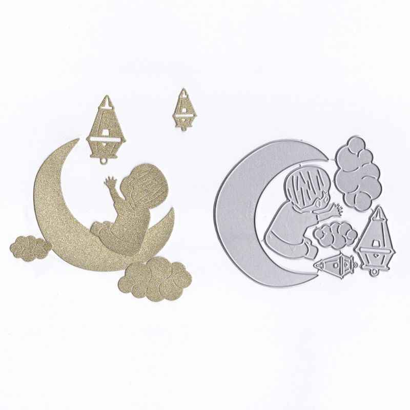 Moon Baby Metal Cutting Dies Stencil DIY Scrapbooking Album Stamp Paper Card Embossing Crafts Decor