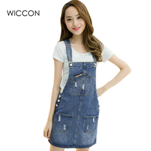 f9b1ca5cba Spring Summer Denim Dresses Women Casual Jeans Sundresses Korean Fashion  With Pocket Ripped Denim Blue Dress