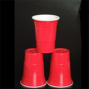 Image 3 - 50Pcs/Set 450ml Red Disposable Plastic Cup Party Cup Bar Restaurant Supplies Household Items for Home Supplies High Quality