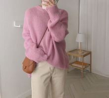 Soft Pink Loose Round Collar Lovely Warm Winter Female Long Sleeves Women Sweater