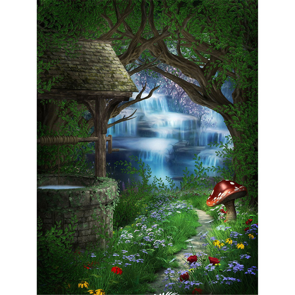 Enchanted Forest Photo Backdrop Old Brick Well Mushroom