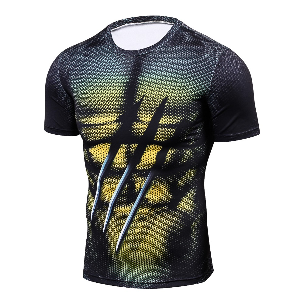 Men Funny 3D printing Compression Breathable   T     Shirts   Bodybuilding Weight lifting Base Layer Fitness Tight Tops Workout   T  -  shirt