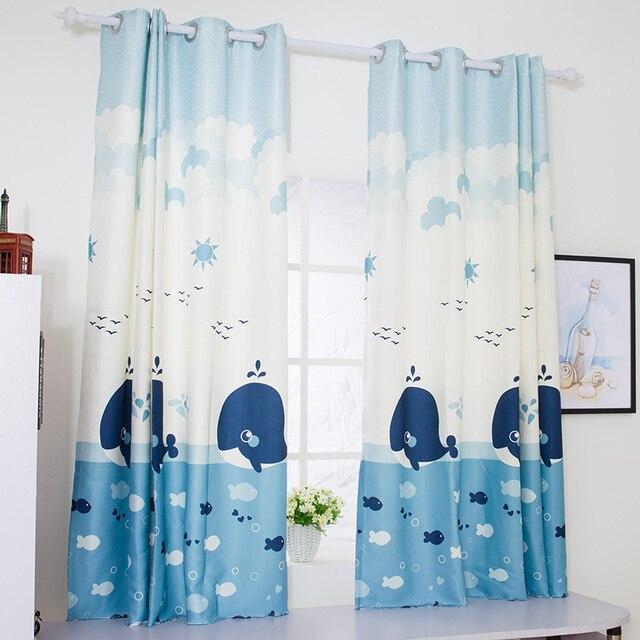 Rideau Court Livraison Gratuite De Chambre D Enfants Style Mediterraneen Bande Dessinee Dauphin Bleu Rideaux A Coucher