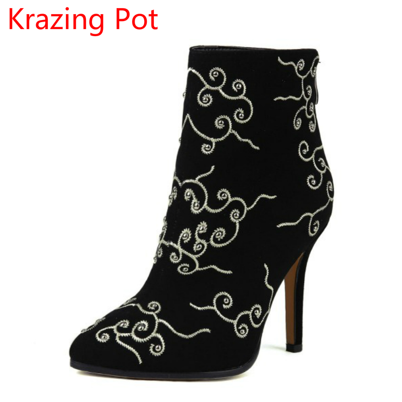 Fashion Brand Big Size Winter Shoes Embroidery Zip Pointed Toe High Heel Women Ankle Boots Warm  Causal Motorcycles Boots L71 new fashion superstar brand winter shoes embroidery snow boots tassel women mid calf boots thick heel causal motorcycles boots