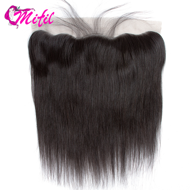 Mifil Hair Brazilian Straight 13X4 Ear To Ear Lace Frontal Closure Human Non Remy Hair Lace Frontal Closure with Baby Hair
