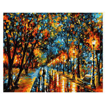 WONZOM Night Street Paint By Numbers Scenery Oil Painting On Canvas With Frame Home Decor Wall Art For Living Room Acrylic