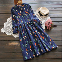 Mori Girl Dress Birds Printing Long Sleeve Cordury Dress Free Shipping