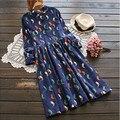 Mori vestido Da Menina Aves Cordury impressão manga comprida Vestido Frete grátis