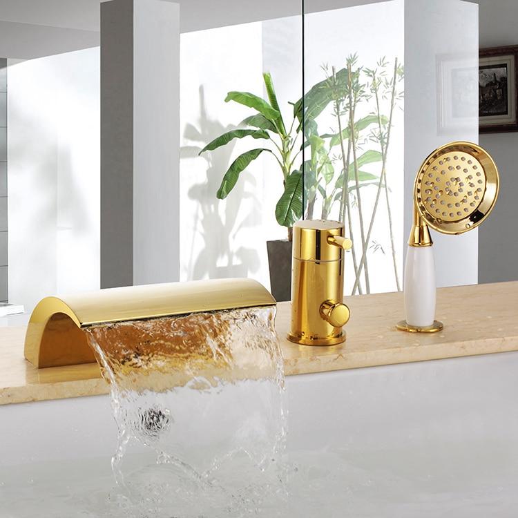Free ship ti gold Pvd 3 Pcs widespread Waterfall Bathroom Bath Roman ...