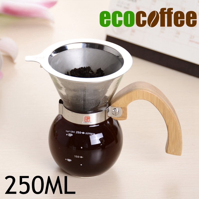 NEW ARRIVAL 250ML Wood Handle Coffee Chemex Brewer3-4cups Chemex