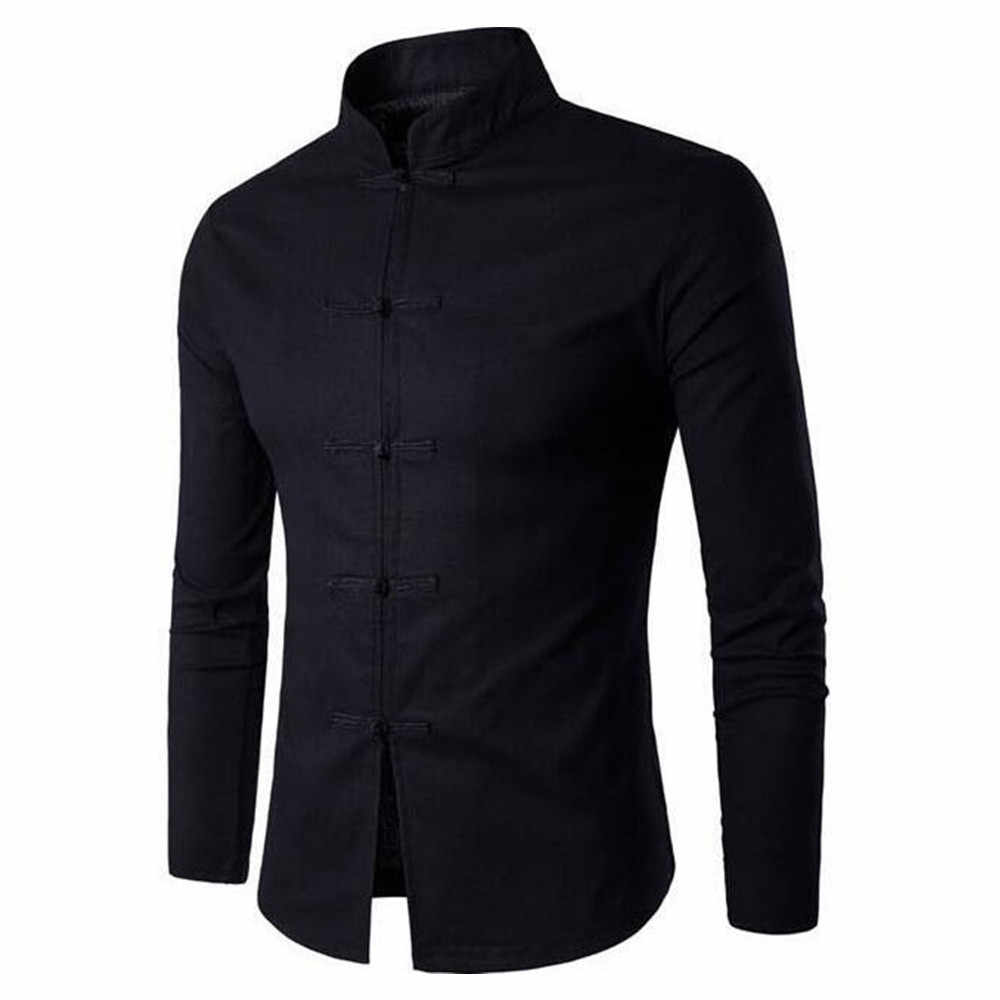 Мужская рубашка в китайском стиле; цвет черный, белый; костюм Тан; винтажные пуговицы; воротник-стойка; обеденная блузка с длинными рукавами; джентльменские ретро-топы